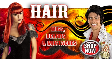 Changing your hair is an easy way to change your look for costumes, theatre, disguise, or fun. We have a large selection of men's wigs, women's wigs, wigs for kids, beards, moustaches, sideburns, and accessories