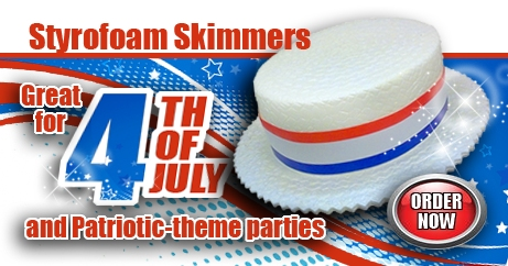Patriotic Costumes, Hats, Styrofoam Skimmer Hats and Accessories perfect for Memorial Day, Fourth of July, and Labor Day