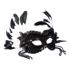 Black Masquerade Mask with Feathers