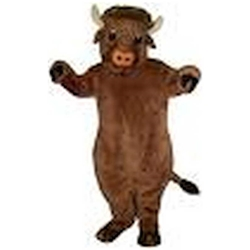 Beefalo Mascot. This Beefalo mascot comes complete with head, body, hand mitts and foot covers. This is a sale item. Manufactured from only the finest fabrics. Fully lined and padded where needed to give a sculptured effect. Comfortable to wear and easy to maintain. All mascots are custom made. Due to the fact that all mascots are made to order, all sales are final. Delivery will be 2-4 weeks. Rush ordering is available for an additional fee. Please call us toll free for more