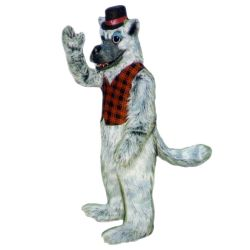 Big Bad Wolf Mascot with Top Hat and Vest - Sales - Sales