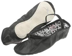 Black Daisy Ballet Slippers - Adult - Wide