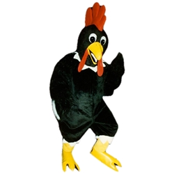 Black Rooster Mascot. This Black Rooster mascot comes complete with head, body, hand mitts and foot covers. This is a sale item. Manufactured from only the finest fabrics. Fully lined and padded where needed to give a sculptured effect. Comfortable to wear and easy to maintain. All mascots are custom made. Due to the fact that all mascots are made to order, all sales are final. Delivery will be 2-4 weeks. Rush ordering is available for an additional fee. Please call us toll free for more information. 1-877-218-1289