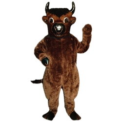 Bull Mascot. This Bull mascot comes complete with head, body, hand mitts and foot covers. This is a sale item. Manufactured from only the finest fabrics. Fully lined and padded where needed to give a sculptured effect. Comfortable to wear and easy to maintain. All mascots are custom made. Due to the fact that all mascots are made to order, all sales are final. Delivery will be 2-4 weeks. Rush ordering is available for an additional fee. Please call us toll free for more information. 1-877-218-1289