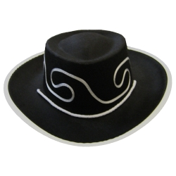 Black Embroidered Kids Cowboy Hat