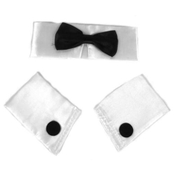 Deluxe Satin Collar, Cuffs, and Tie Set