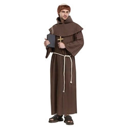 Medieval Monk Adult With Wig Costume