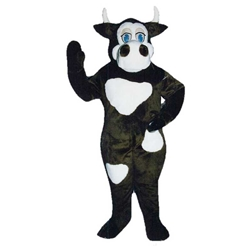Moo Cow Mascot. This Moo Cow mascot comes complete with head, body, hand mitts and foot covers. This is a sale item. Manufactured from only the finest fabrics. Fully lined and padded where needed to give a sculptured effect. Comfortable to wear and easy to maintain. All mascots are custom made. Due to the fact that all mascots are made to order, all sales are final. Delivery will be 2-4 weeks. Rush ordering is available for an additional fee. Please call us toll free for more information. 1-877-218-1289