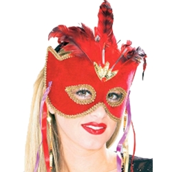 Red Venetian Velvet Half Mask with Feather