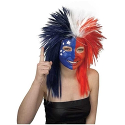 Sports Fanatic Wig - Red/White and Blue