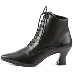 Victorian Short Lace Boots - Black