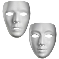 White Blank Plain Faced Mask