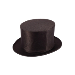 Black Collapsible Pop-Up Folding Top Hat For Tuxedos and Magicians