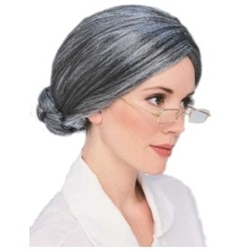 Deluxe Old Lady Bun Wig