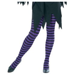 Adult Purple and Black Striped Tights