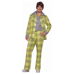 70's Green Plaid Leisure Suit Adult Costume
