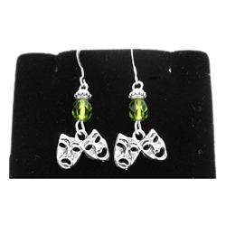 Comedy & Tragedy Dangle Earrings with Beads