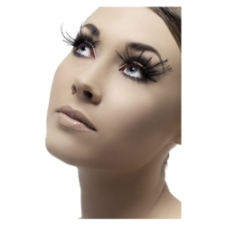 Black Eyelashes with Feathers