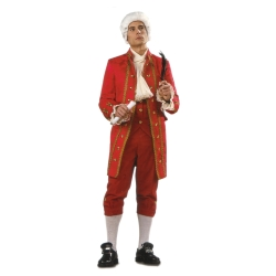 Fancy Colonial Man Deluxe Adult Costume. The height of Colonial sophistication can be yours in this brocade jacket with gold buttons and gold braid trim, solid color velvet vest with gold buttons and velvet knickers. Available in adult size small, medium, large and extra large.