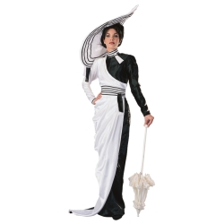 Black & White Fair Lady Dress Deluxe Adult Costume