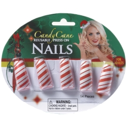 Candy Cane Finger Nails