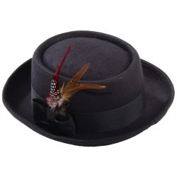 Black Pork Pie Gangster Hat