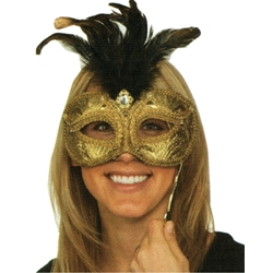 Gold Venetian Mask on a Stick