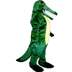 Alligator Sam Mascot. This Alligator Sam mascot comes complete with head, body, hand mitts and foot covers. This is a sale item. Manufactured from only the finest fabrics. Fully lined and padded where needed to give a sculptured effect. Comfortable to wear and easy to maintain. All mascots are custom made. Due to the fact that all mascots are made to order, all sales are final. Delivery will be 2-4 weeks. Rush ordering is available for an additional fee. Please call us toll free for more information. 1-877-218-1289