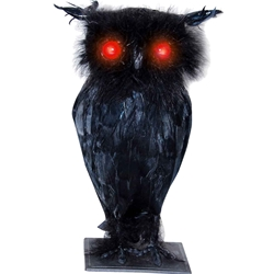 Black Owl with Lights and Sound Halloween Decoration