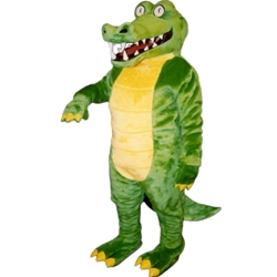 Brawny Gator Mascot. This  Brawny Gator mascot comes complete with head, body, hand mitts and foot covers. This is a sale item. Manufactured from only the finest fabrics. Fully lined and padded where needed to give a sculptured effect. Comfortable to wear and easy to maintain. All mascots are custom made. Due to the fact that all mascots are made to order, all sales are final. Delivery will be 2-4 weeks. Rush ordering is available for an additional fee. Please call us toll free for more information. 1-877-218-1289