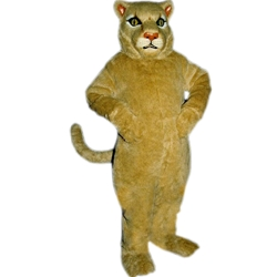 Cougar Mascot. This  Cougar mascot comes complete with head, body, hand mitts and foot covers.. This is a sale item. Manufactured from only the finest fabrics. Fully lined and padded where needed to give a sculptured effect. Comfortable to wear and easy to maintain. All mascots are custom made. Due to the fact that all mascots are made to order, all sales are final. Delivery will be 2-4 weeks. Rush ordering is available for an additional fee. Please call us toll free for more information. 1-877-218-1289