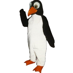 Penny Penguin Mascot. This Penny Penguin mascot comes complete with head, body, hand mitts and foot covers. This is a sale item. Manufactured from only the finest fabrics. Fully lined and padded where needed to give a sculptured effect. Comfortable to wear and easy to maintain. All mascots are custom made. Due to the fact that all mascots are made to order, all sales are final. Delivery will be 4-6 weeks. Rush ordering is available for an additional fee. Please call us toll free for more information. 1-877-218-1289