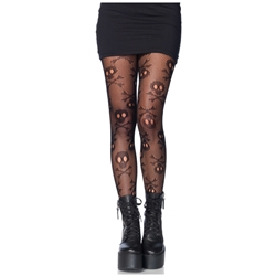 Pirate Skull and Crossbones Net Tights
