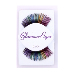 Black And Rainbow Tinsel Eyelashes | The Costumer