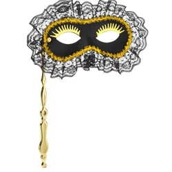 Black Lace Masquerade Mask with Stick