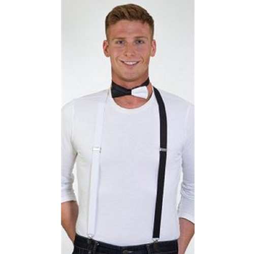 Black and White Suspenders with Bow Tie
