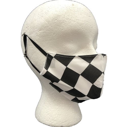 Black and White Checkered Face Mask Youth