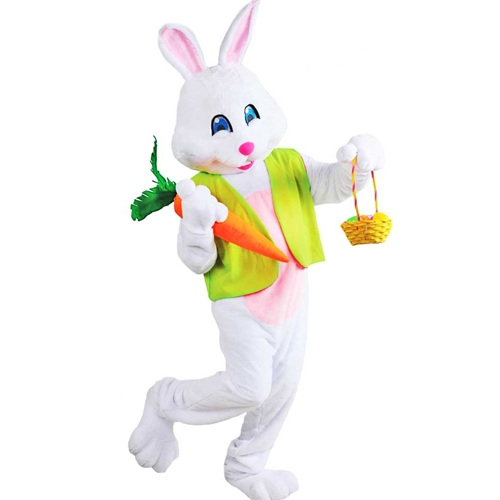 Easter Bunny Deluxe Mascot Style Costume with Jumbo Carrot