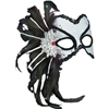 Venetian Mask With Feathers - Black & White
