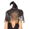 Black Rose Witch Hat with Veil
