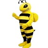 Cartoon Bee Mascot. This  Cartoon Bee mascot comes complete with head, body, hand mitts and foot covers.. This is a sale item. Manufactured from only the finest fabrics. Fully lined and padded where needed to give a sculptured effect. Comfortable to wear and easy to maintain. All mascots are custom made. Due to the fact that all mascots are made to order, all sales are final. Delivery will be 2-4 weeks. Rush ordering is available for an additional fee. Please call us toll free for more information. 1-877-218-1289