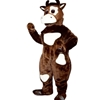 Brown Cow Mascot. This Brown Cow mascot comes complete with head, body, hand mitts, foot covers, hat, shirt  and shoes.  This is a sale item. Manufactured from only the finest fabrics. Fully lined and padded where needed to give a sculptured effect. Comfortable to wear and easy to maintain. All mascots are custom made. Due to the fact that all mascots are made to order, all sales are final. Delivery will be 2-4 weeks. Rush ordering is available for an additional fee. Please call us toll free for more information. 1-877-218-1289