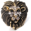 Lion Ring with Gemstone Face Costume Jewelry