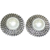 Faux Pearl Earrings with Round Base Costume Jewelry