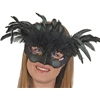 Black Venetian Mask with Feathers