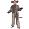 Gray Mouse Adult Costume Plush Gray Mouse Hooded Jumpsuit with Attached Tail and Ears