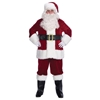 Complete 10 Piece Santa Suit Velvet Includes Jacket, Pants, Hat, Belt, Boot Tops, Gloves, Glasses, Eyebrow Whitening Stick, Wig, and Beard