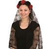 Day of the Dead Rose Headband with Veil