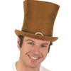 Brown Suede Tall Top Hat