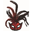 Red Half Mask with Feathers